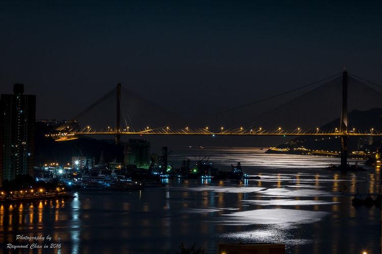 Moon Light Architecture Bridge City Moonlight Night Reflection Waterfront