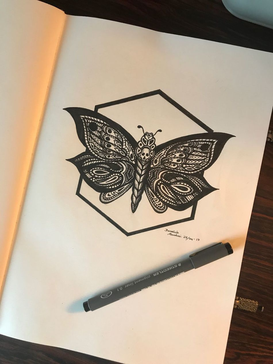Tattoo Drawing - Activity Pendrawing Pen Tattoo Life Tattoodesign Drawing Ink Tattooartist  Inspirations Pen Drawing Butterfly Skull