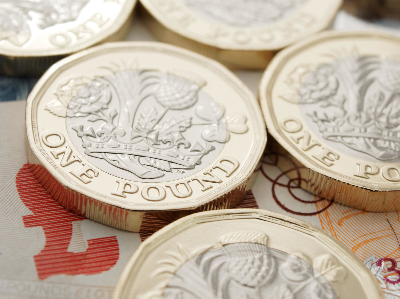 New One Pound GBP Coins on £10 and £5 notes, United Kingdom Accounting Banking Banks Brexit Business Cash Coin Coins Currency England Exchange Finance Gbp Investment Investments Money New Pound Coin One Pound One Pound Coin Pound Pound Coin Royal Mint Savings Sterling Wealth
