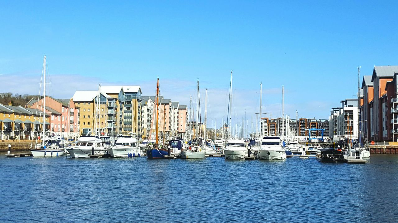 💕⛵⚓🛳❤ Landscapes With WhiteWall Marina Boats Boats In A Line Sky And Clouds Taking Photos Landscape Water Water Reflections England Blue Wave Blue Sky Sea Houses By The Sea Docks