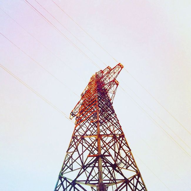 Low Angle View Connection Built Structure Tower Power Supply Electricity  Fuel And Power Generation Power Line  Architecture Clear Sky Cable Red Electricity Pylon Day Tall - High Sky Outdoors Tall Electricity Tower No People