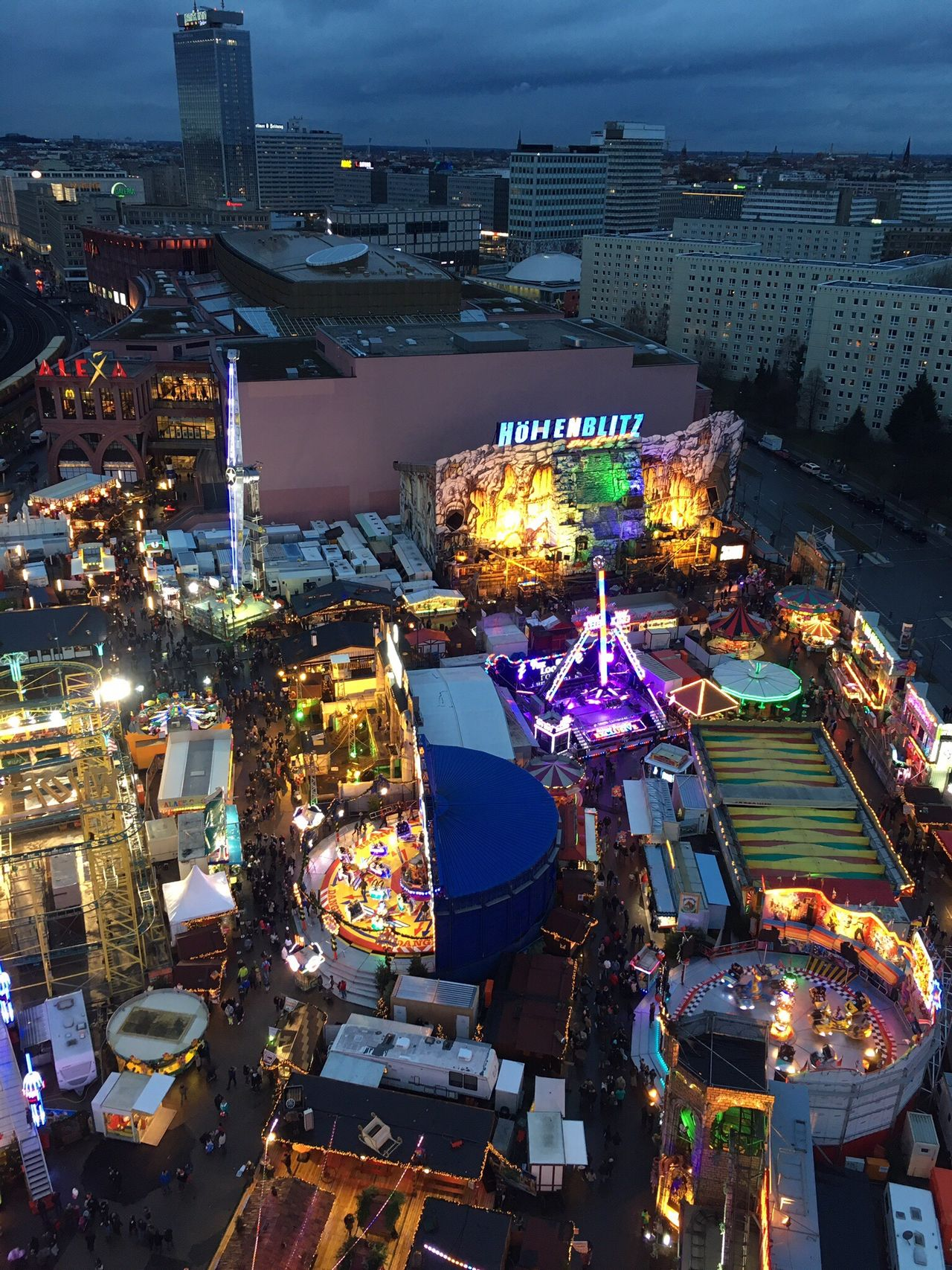 From My Point Of View From Above  Looking Down Bigwheel Riesenrad Kirmes Fair Berlin Photography Berlin By Night Illuminated High Angle View City Cityscape Aerial View Outdoors Urban Skyline Capture Berlin Berlin Snapshots Of Life