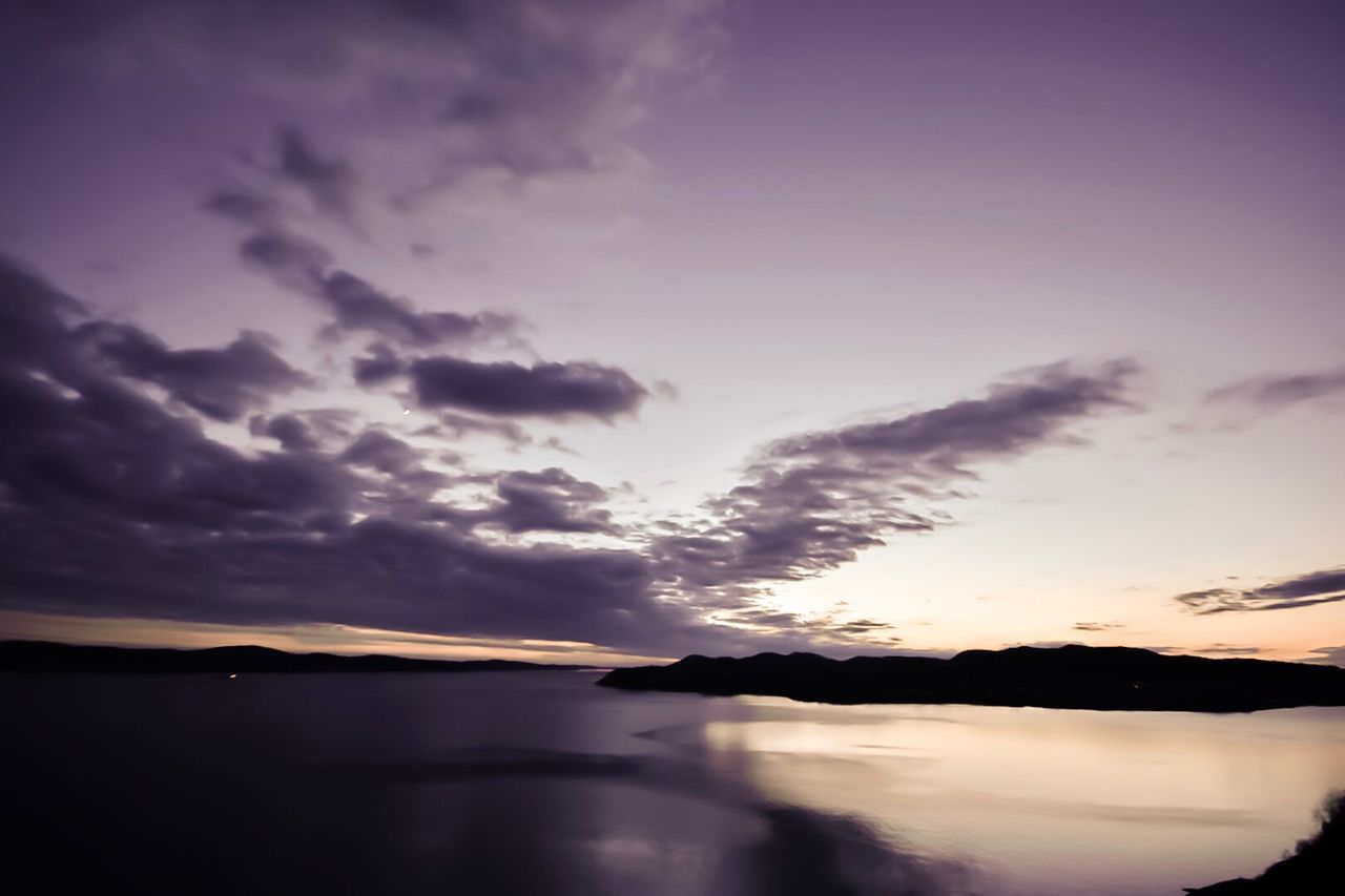 sunset, sky, water, scenics, beauty in nature, tranquil scene, nature, tranquility, no people, lake, cloud - sky, idyllic, silhouette, waterfront, outdoors, day