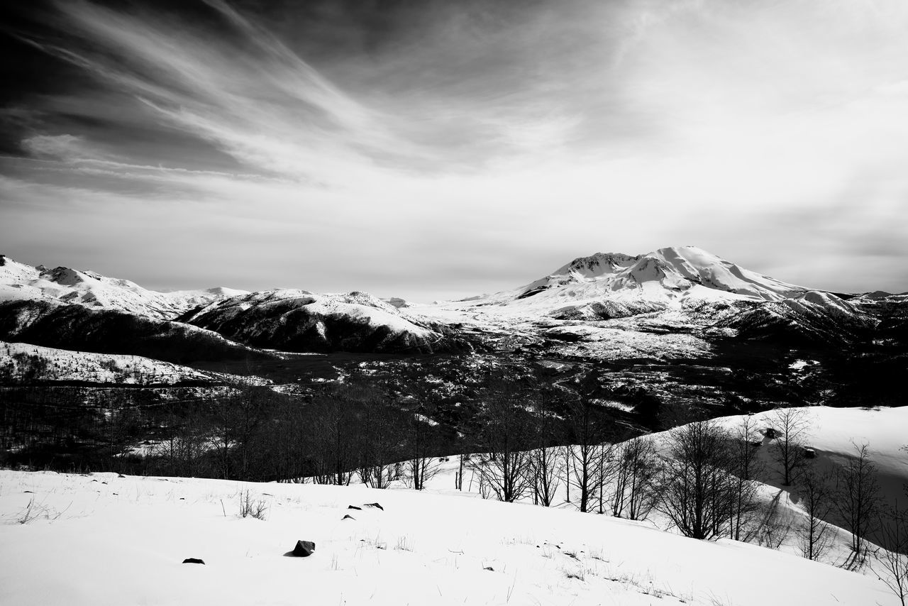 Mt St Helens Beauty In Nature Blackandwhite Cloud - Sky Cold Temperature Day Idyllic Landscape Mount St Helens Mountain Mountain Range Nature No People Non-urban Scene Outdoors Scenics Sky Snow Snowcapped Mountain Tranquil Scene Tranquility Winter