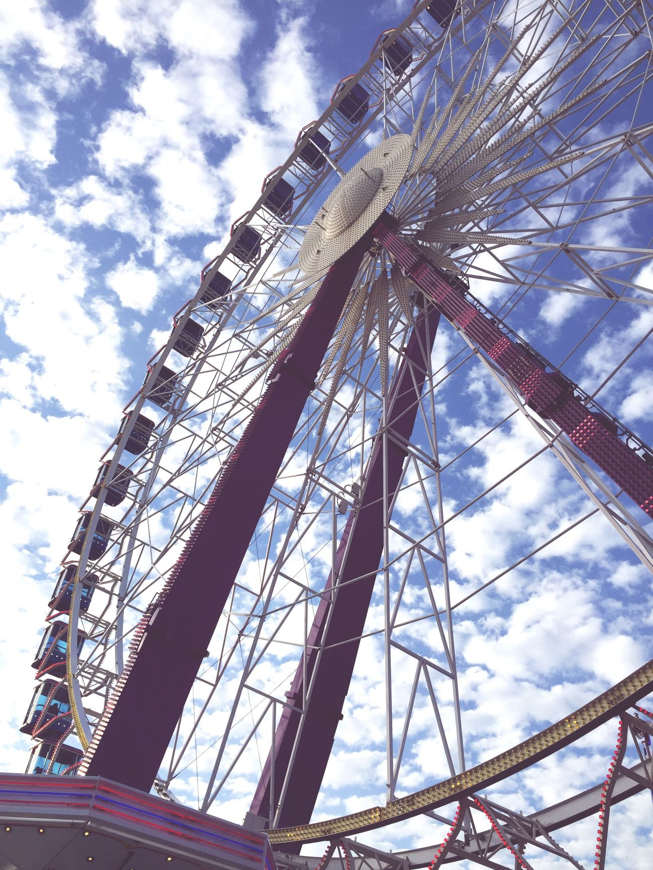 Fairground Fairground Crange  Festival Ruhrgebiet Germany NRW Riesenrad Ferris Wheel Sky Low Angle View Cloud - Sky Outdoors Blue Carnival Crowds And Details