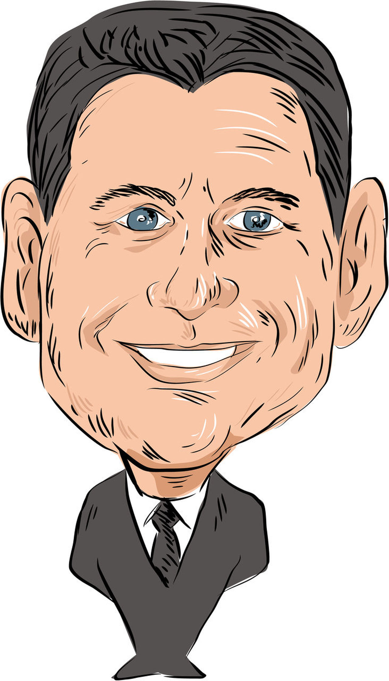 Caricature illustration of Paul Davis Ryan Speaker of the U.S. House of Representatives and Republican Party Senator viewed from front on isolated white background done in cartoon style. Caricature Cartoon Front Human Face One Person Paul Davis Ryan Republican Party Senator Speaker US House Of Representative Water Color White Background