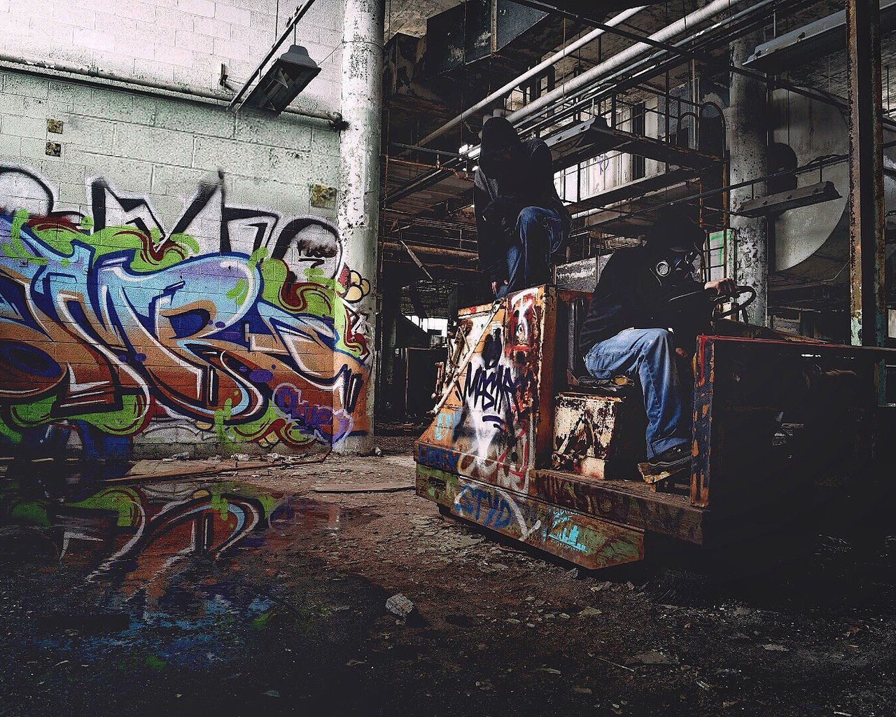 ☠️Partners In Grime ☠️ Graffiti Art And Craft Creativity Multi Colored Spray Paint Day Outdoors No People Abandoned Abandoned Places Abandoned Buildings Grimey Portrait Portraits Portrait Photography Finding New Frontiers
