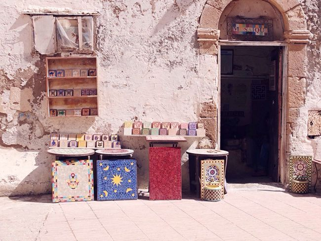 One of the many street shops in Essaoira ☮ Morocco Essaouira Traveling Check This Out Streetphotography Mosaic Tiles Mosaic Tiles First Eyeem Photo EyeEm Best Shots Travel Travel Photography