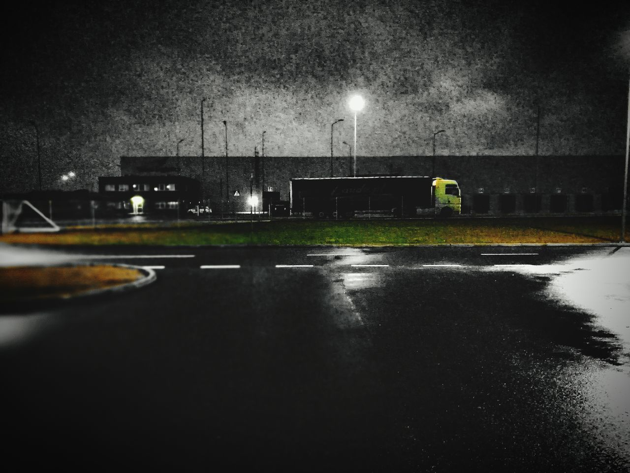 At Night In Work Trailer Big Car Moonlight Midnight Truck Rainy Days Rain