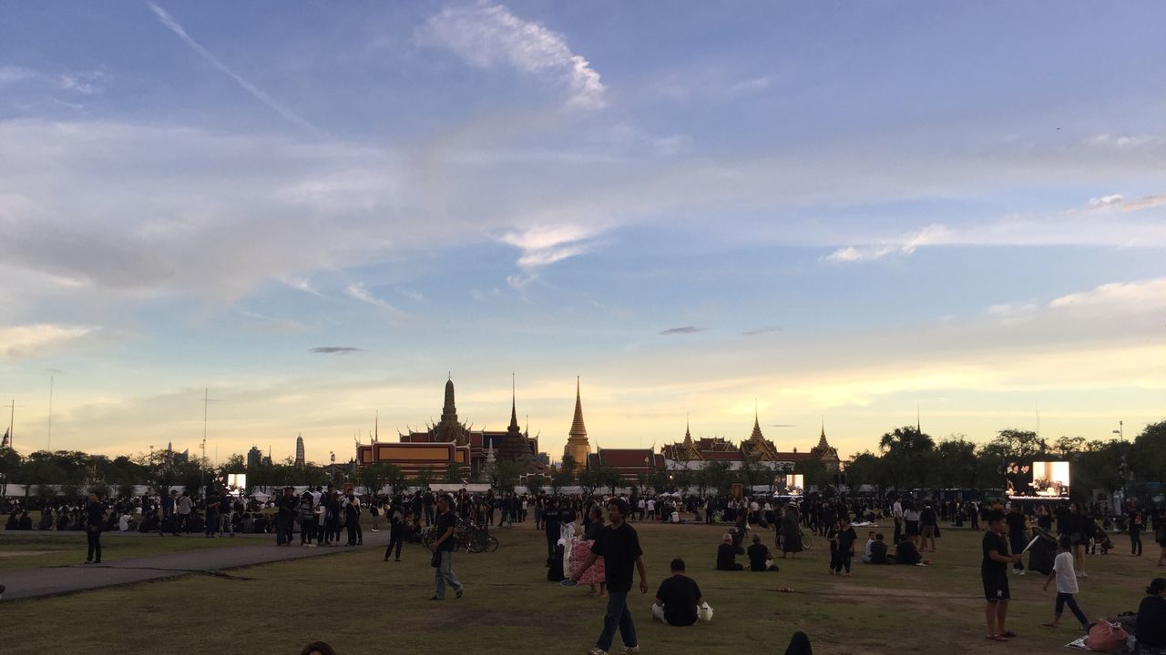 Large Group Of People Sky Real People Person Men Architecture Cloud - Sky Leisure Activity Crowd Lifestyles Built Structure Building Exterior Outdoors Watching City Life City Day Togetherness People Adult Thailand King