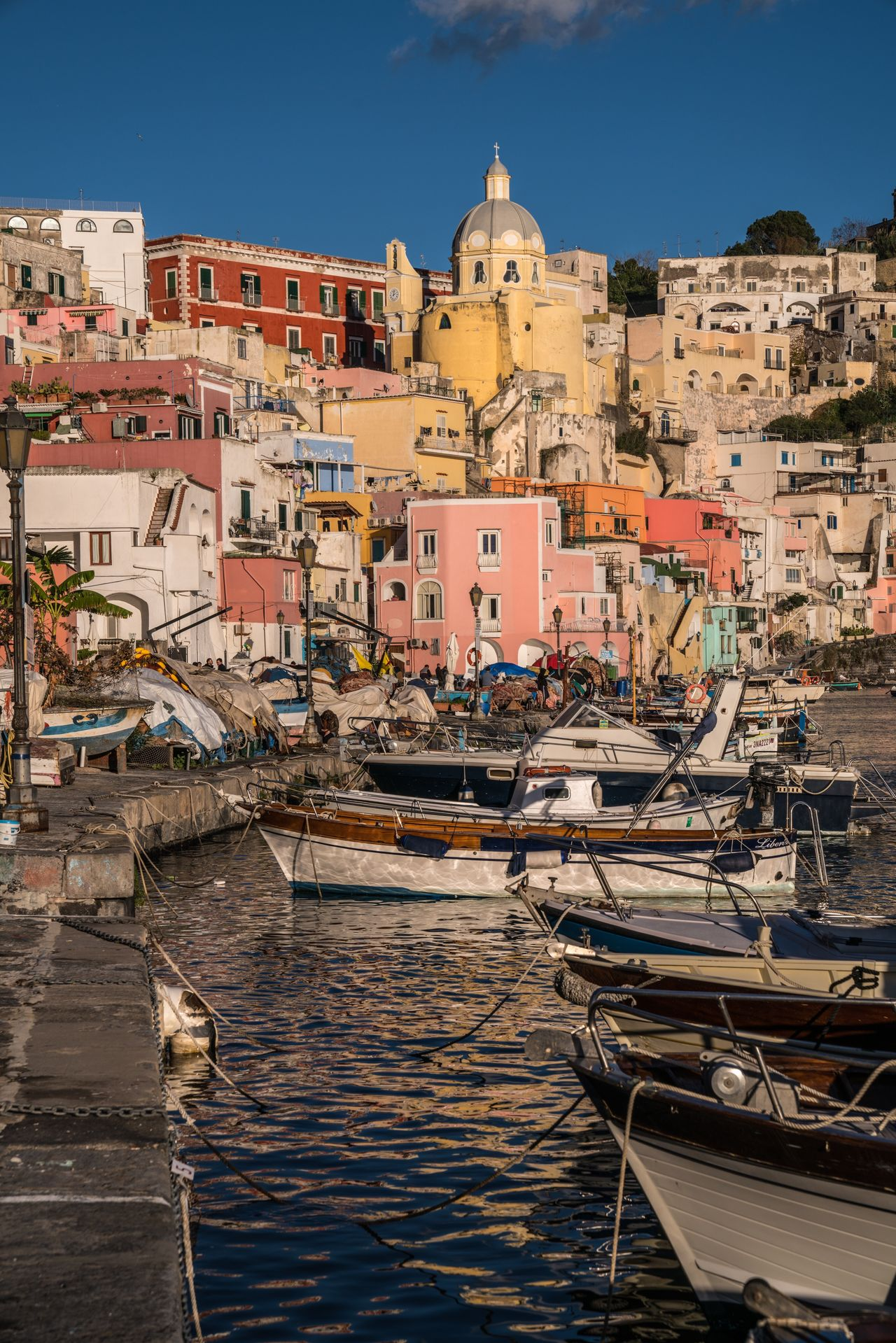 Dox. Architecture Building Exterior Built Structure Water Travel Destinations Nautical Vessel Religion Sky Outdoors Cityscape Day Napoli Naples Italy❤️ Italia Italy Bella Italia Procida Island Harbor Harbour Docks Colors Colorful Architecture