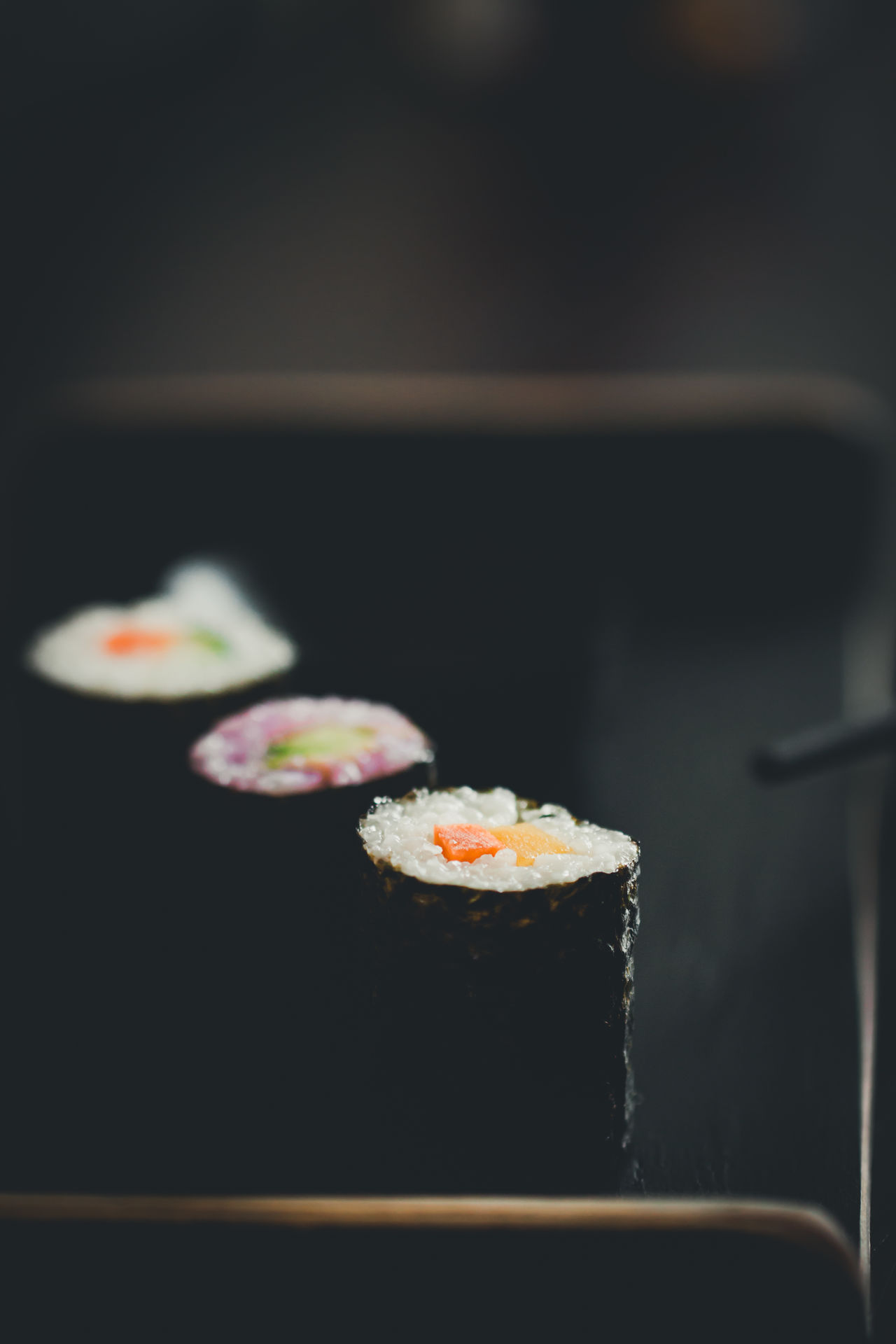 vegan sushi Black Background Carrots Chopsticks Close-up Food Food And Drink Freshness Healthy Healthy Eating Indoors  Japanese Food No People Ready-to-eat River Sushi Traditional Vegan Vegetable
