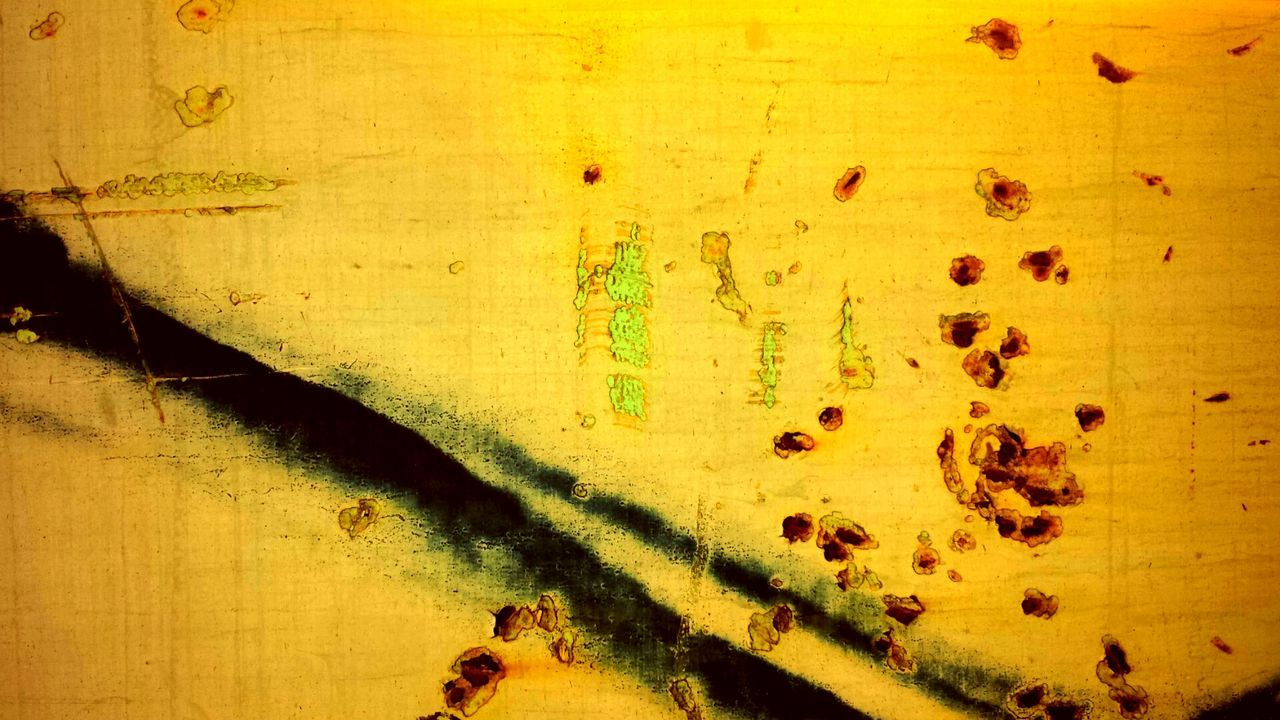 Yellow Close-up No People Full Frame Day Paint Backgrounds Textured  Outdoors Fingerprint Animal Themes Paint Decay Trainphotography Rusty Metaphorical Photography California Dreaming Nature Weathered City Abstract Don Quixote De La Mancha Graffiti Art