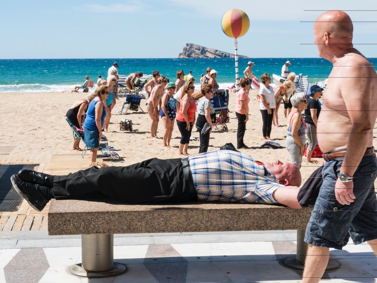 Who needs exercise Hanging Out Relaxing Enjoying Life Outdoors Old Age aerobics Exercise exercising Fitness fitness training Fit lazy Stretching strech Fun sleeping Sleep Laidback Beech sea Sand people Sunshine sunny Holiday And Relaxing holiday Athleisure