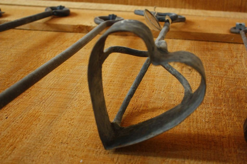 Heart shaped cattle branding iron Antique Branding Iron Cattle Brand Close-up Country Life Farm Life Heart Shape No People