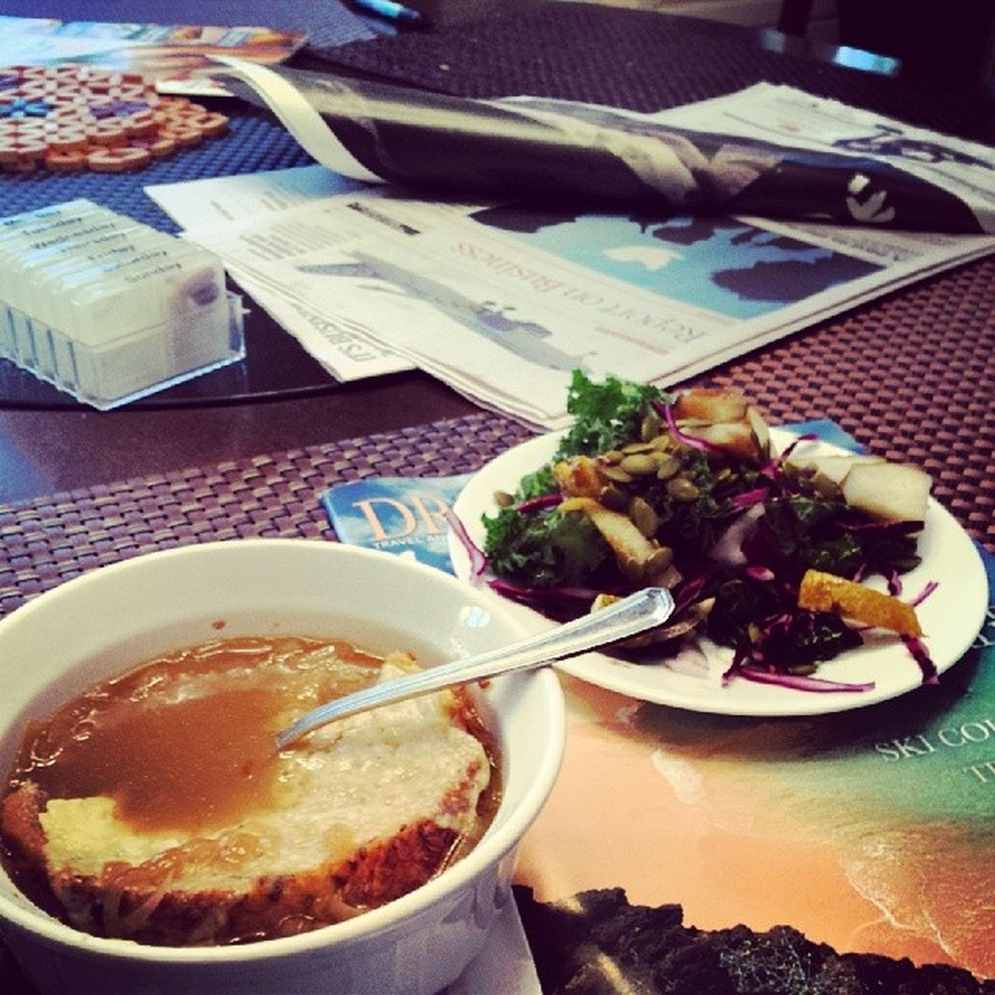 What is that? French onion soup and kale-pear salad . . Yum! Mamascreation