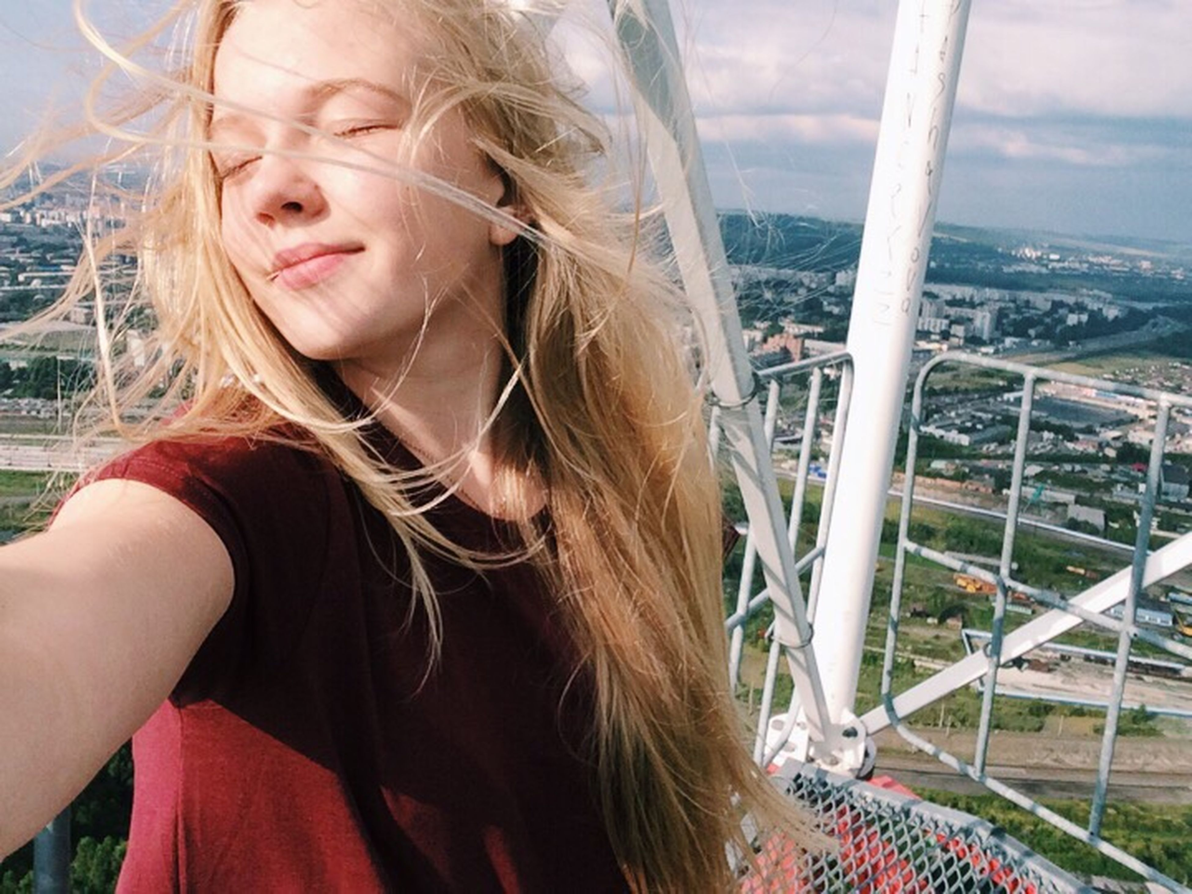long hair, young women, young adult, railing, balcony, beauty, person, day