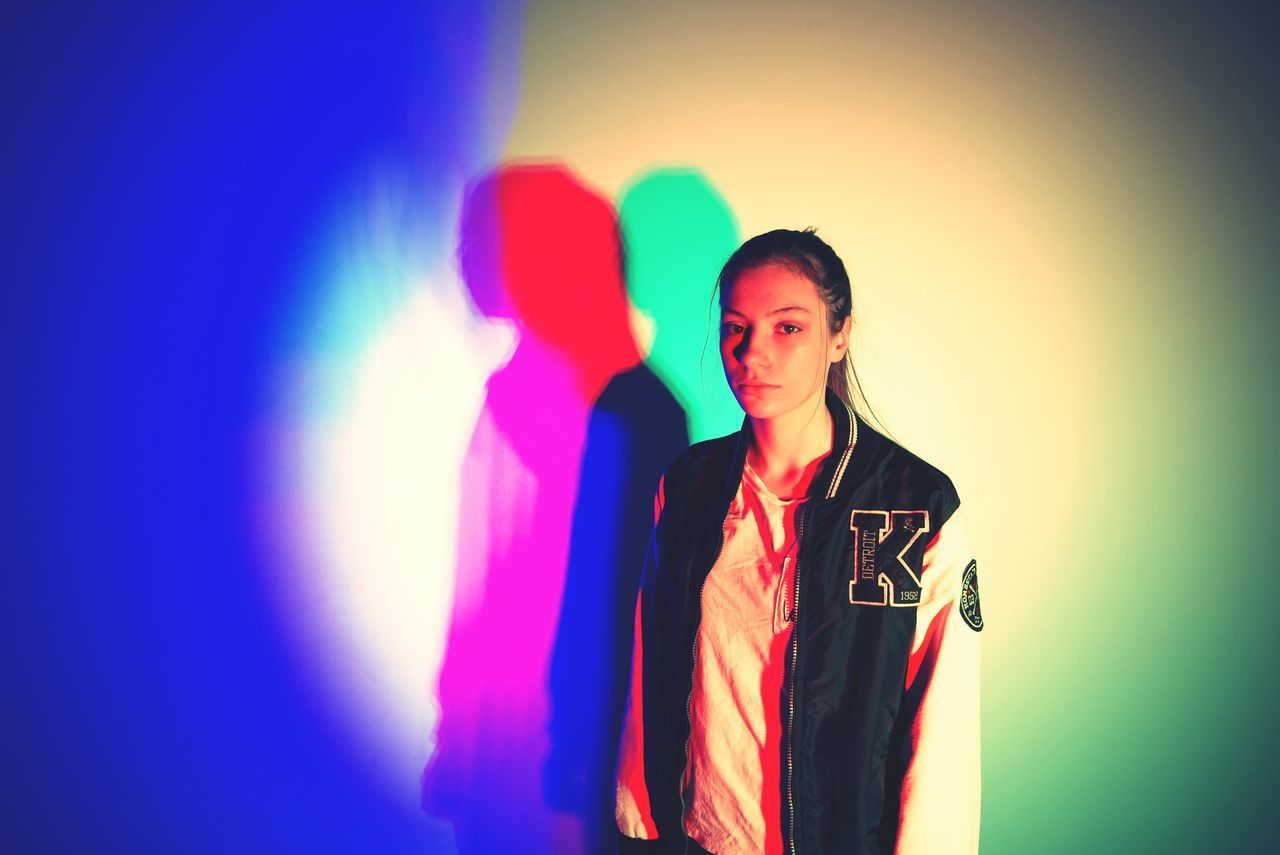 Multi Colored Waist Up Women People One Person Indoors  Scientist Teenager Separeted Mind Where Is My Love? Problems Girl Shadow Colorful Trouble Splinters Of Reality Shadows & Lights Love Nostalgic  Friends Full Frame Ilustration Psihology Vibrant Color Coloured Shadows