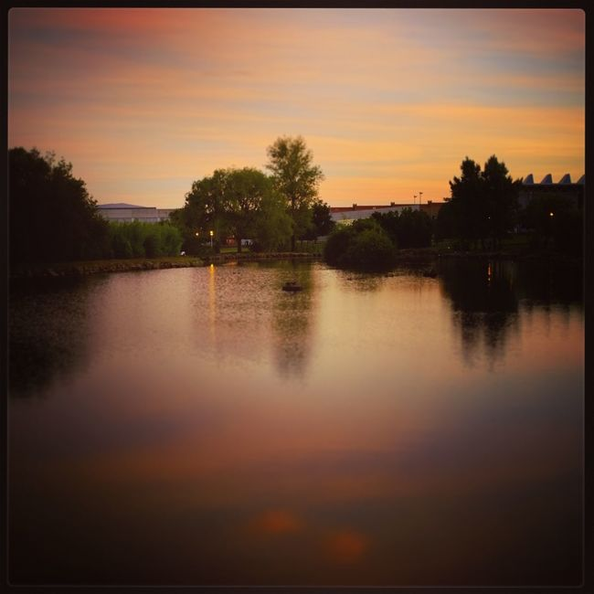 Transfer Print Auto Post Production Filter Sunset Tree Water Lake Tranquil Scene Scenics Tranquility Dusk Sky Beauty In Nature Waterfront Cloud Cloud - Sky River Nature Orange Color Outdoors Majestic