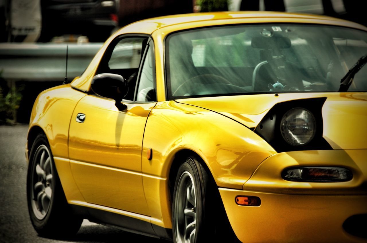 yellow, transportation, car, mode of transport, land vehicle, day, old-fashioned, outdoors, stationary, no people
