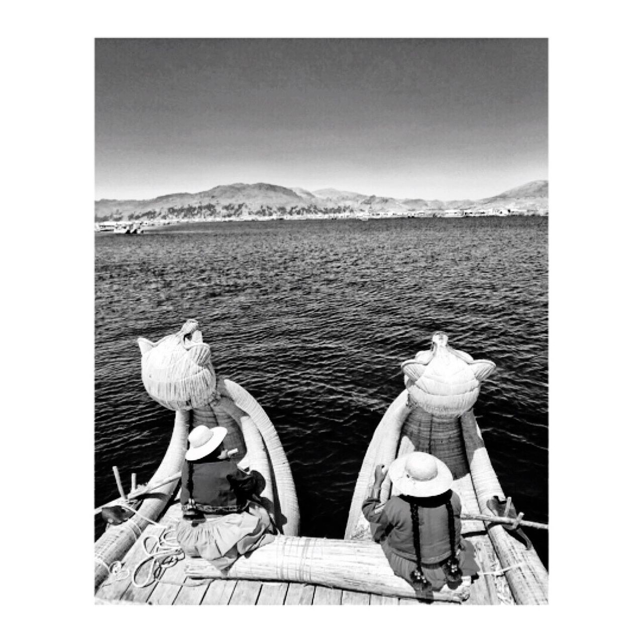 Monochrome Photography Puno Titicaca Lake Totora indigenous Auto Post Production Filter Transfer Print Water Rear View Clear Sky Tranquil Scene Tranquility Mountain Non-urban Scene Scenics Mountain Range Day Sky Nature Harbor Outdoors Sea Beauty In Nature