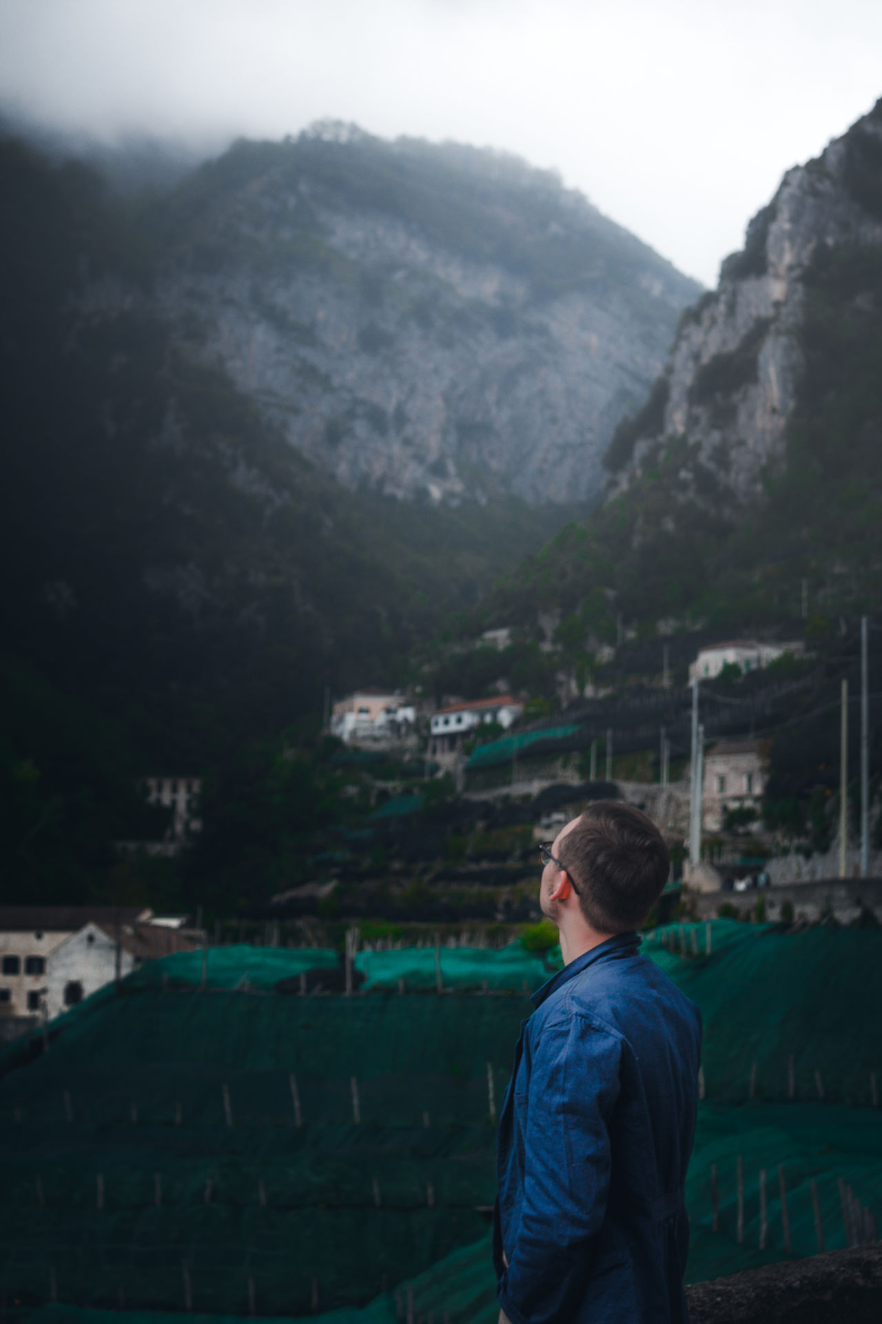 Fog Adult One Person Rear View Mountain Standing Beauty In Nature Young Adult Scenics Nature Day Landscape Beautiful Pretty Italy EyeEm Gallery Amalfi  Eye4photography  EyeEm Best Shots City Sky Europe Vacations Outdoors EyeEm