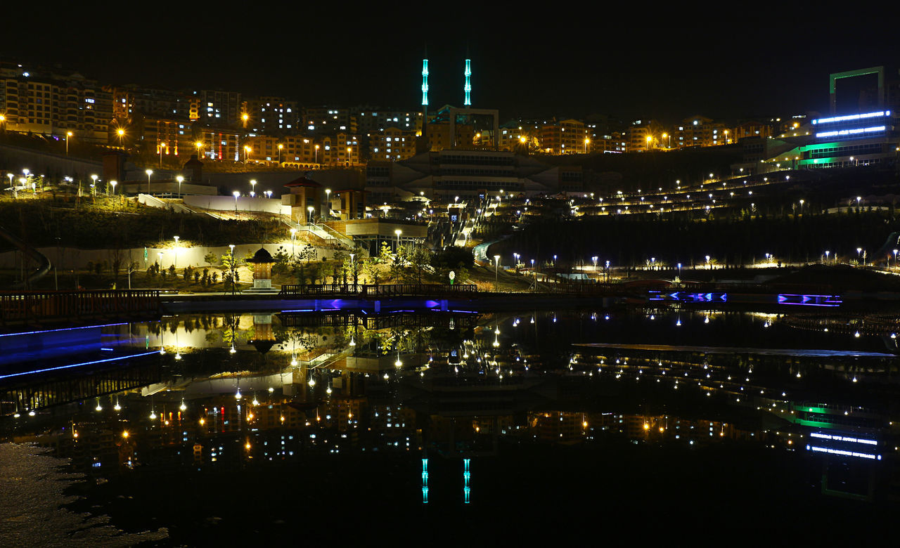 illuminated, night, architecture, building exterior, built structure, city, water, no people, reflection, outdoors, cityscape, sky