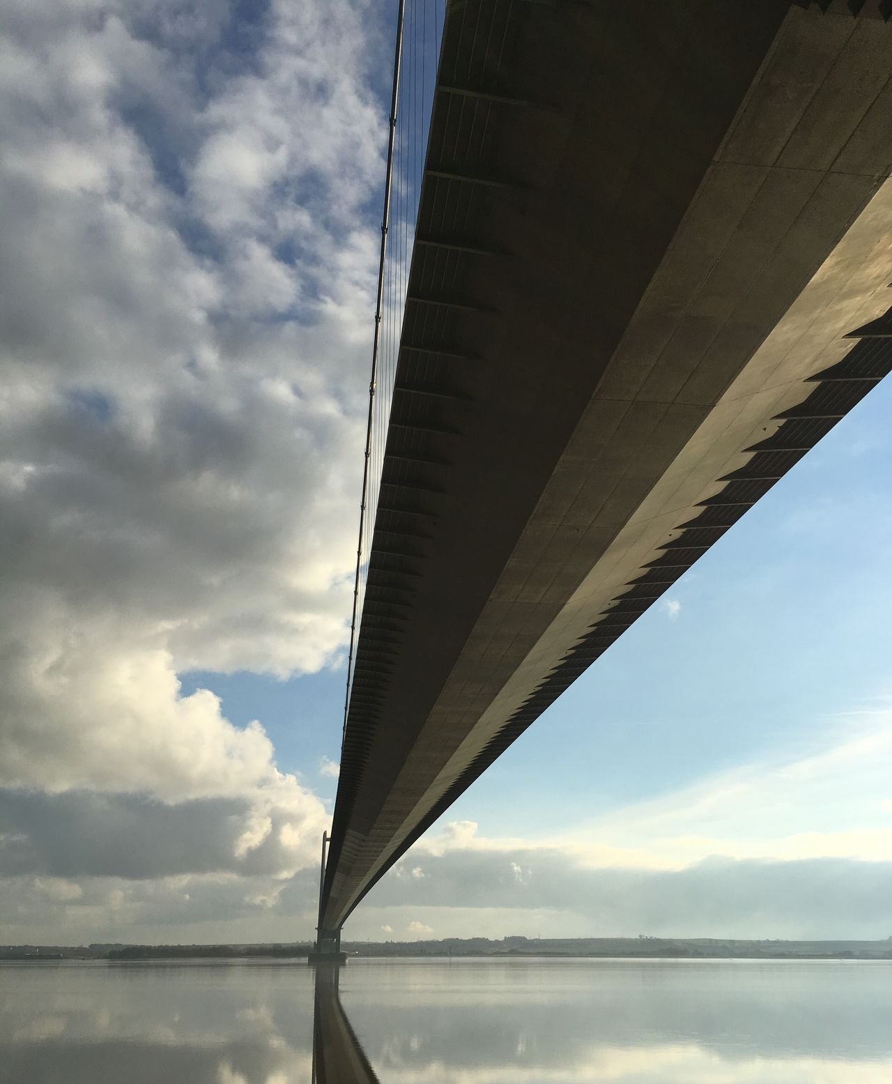 Sky Low Angle View Bridge - Man Made Structure Cloud - Sky Architecture Water Sun Reflection On Water River Humber Hull City Of Culture 2017 Humber Bridge Suspension Bridge Looking Over Water Tranquil Scene Reflection Hull 2017