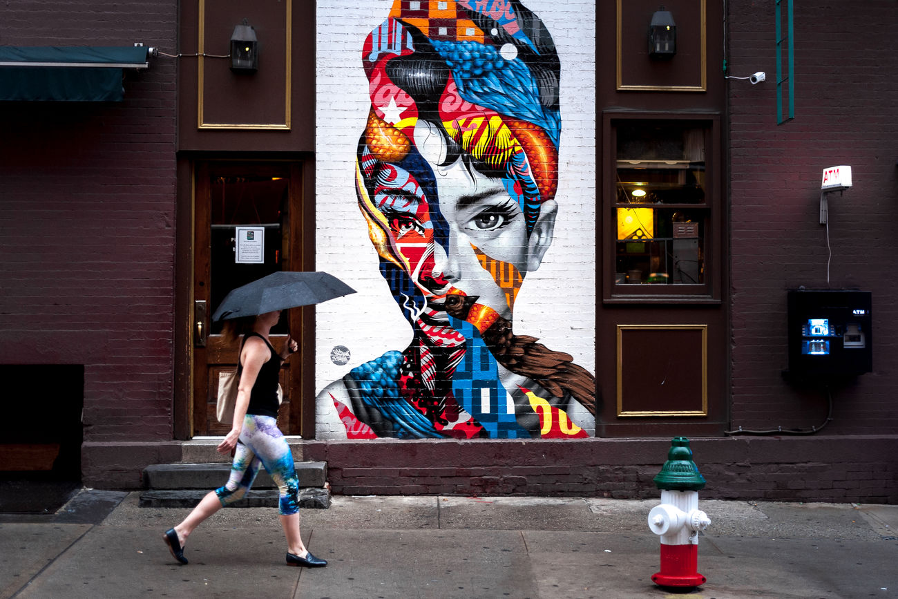 Architecture Building Exterior Built Structure City Life EyeEmNewHere Graffiti Lady With Umbrella Little Italy Mural New York City NYC One Person People Real People Street Street Photography Street Scene Umbrella Urban Urbanphotography