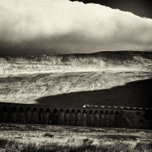 Black And White Blackandwhite Clouds England Landscape Nature Ribbleheadviaduct Sepia Square Train Viaduct Yorkshire Yorkshire Dales
