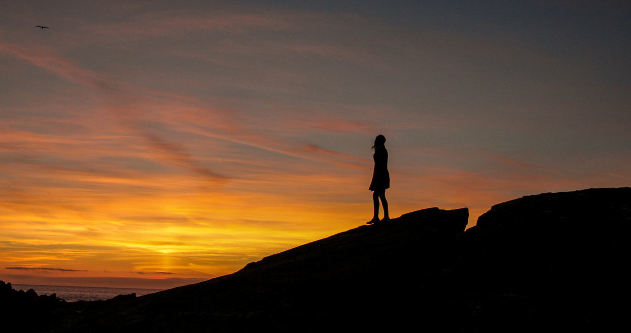 Tranquil Sky Adult Beauty In Nature Cloud - Sky Day Full Length Landscape Leisure Activity Lifestyles Nature One Person Outdoors People Real People Scenics Silhouette Sky Standing Sunset Tranquil Scene Tranquility Walking Women