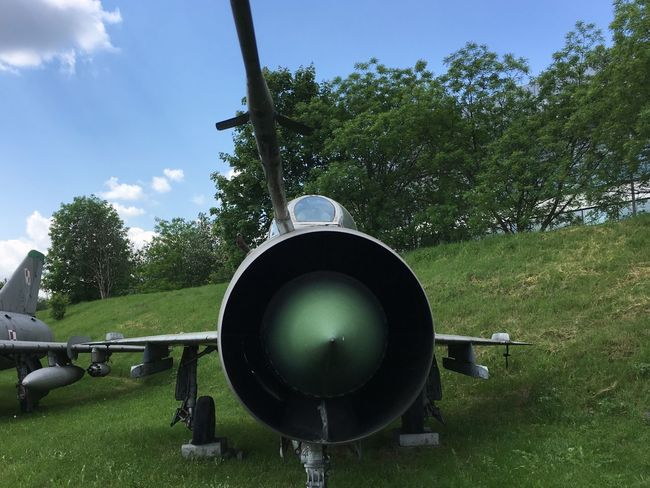 Airplane Day Field Grass Growth Jet Engine Jet Fighter Mig Military Nature No People Outdoors Polish Airforce Russian Aircraft Russian Airforces Sky Tree Weapon