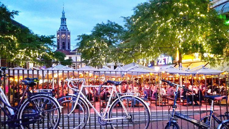 Embrace Urban Life The Hague Bycicles Fietsen Kerk Lights Sunset_collection Sunset