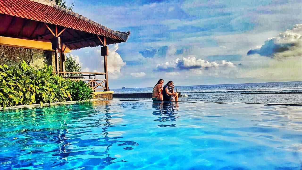 Poolside Sea View Enjoying Life Great Feeling Candidasa Bali