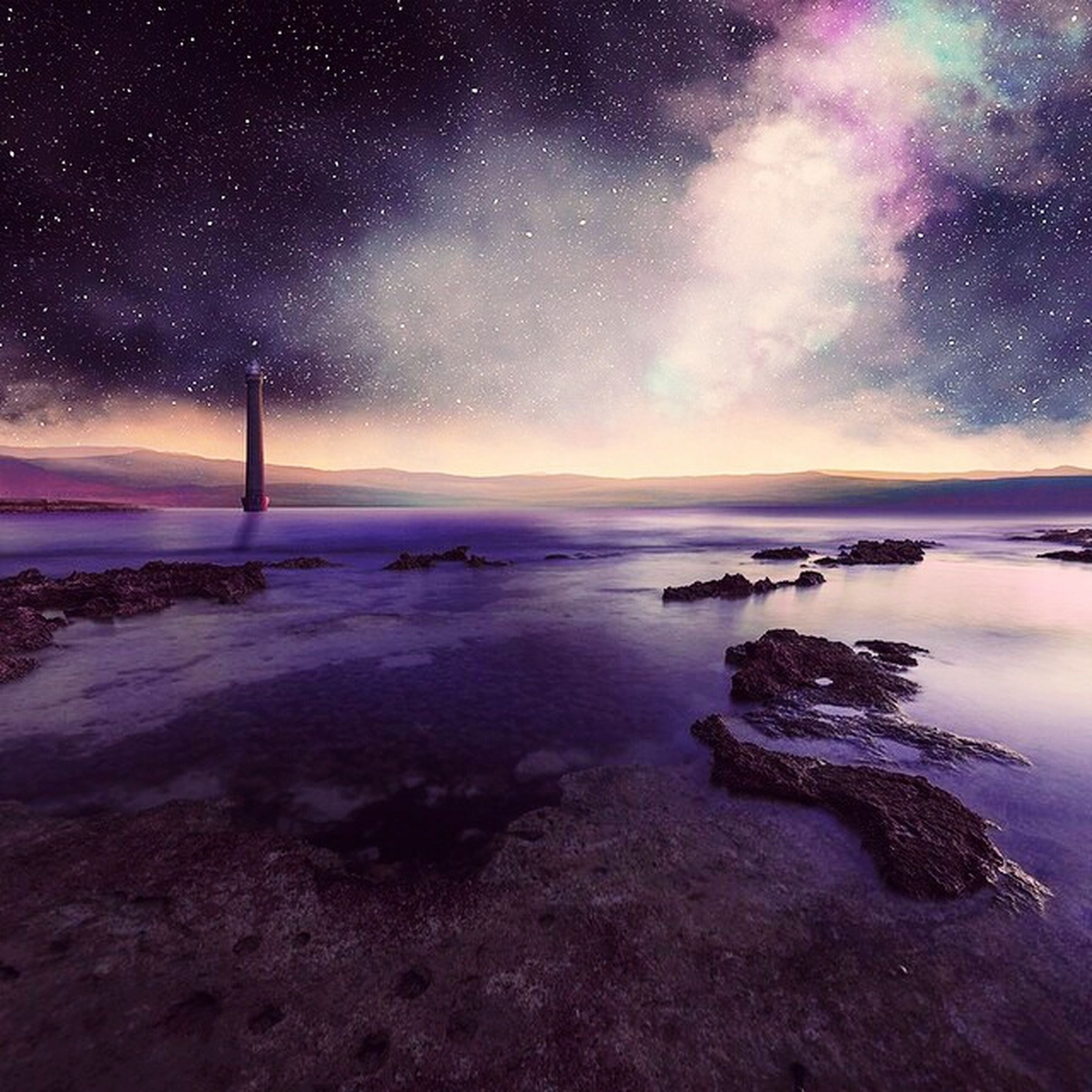 tranquil scene, scenics, tranquility, water, beauty in nature, sky, night, nature, sea, star - space, idyllic, dusk, astronomy, majestic, non-urban scene, star field, reflection, outdoors, no people, silhouette