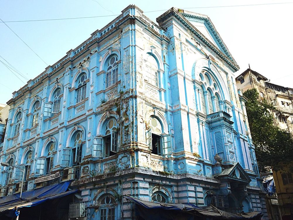 Miles Away Building Exterior Travel Destinations Built Structure Synagogue Place Of Worship Architecture Mumbai India Iphonephotography Synagogue In The Former Jewish Quarter Synagogue Ruin Ruins Old Building  Historic Building Blue Building Blue