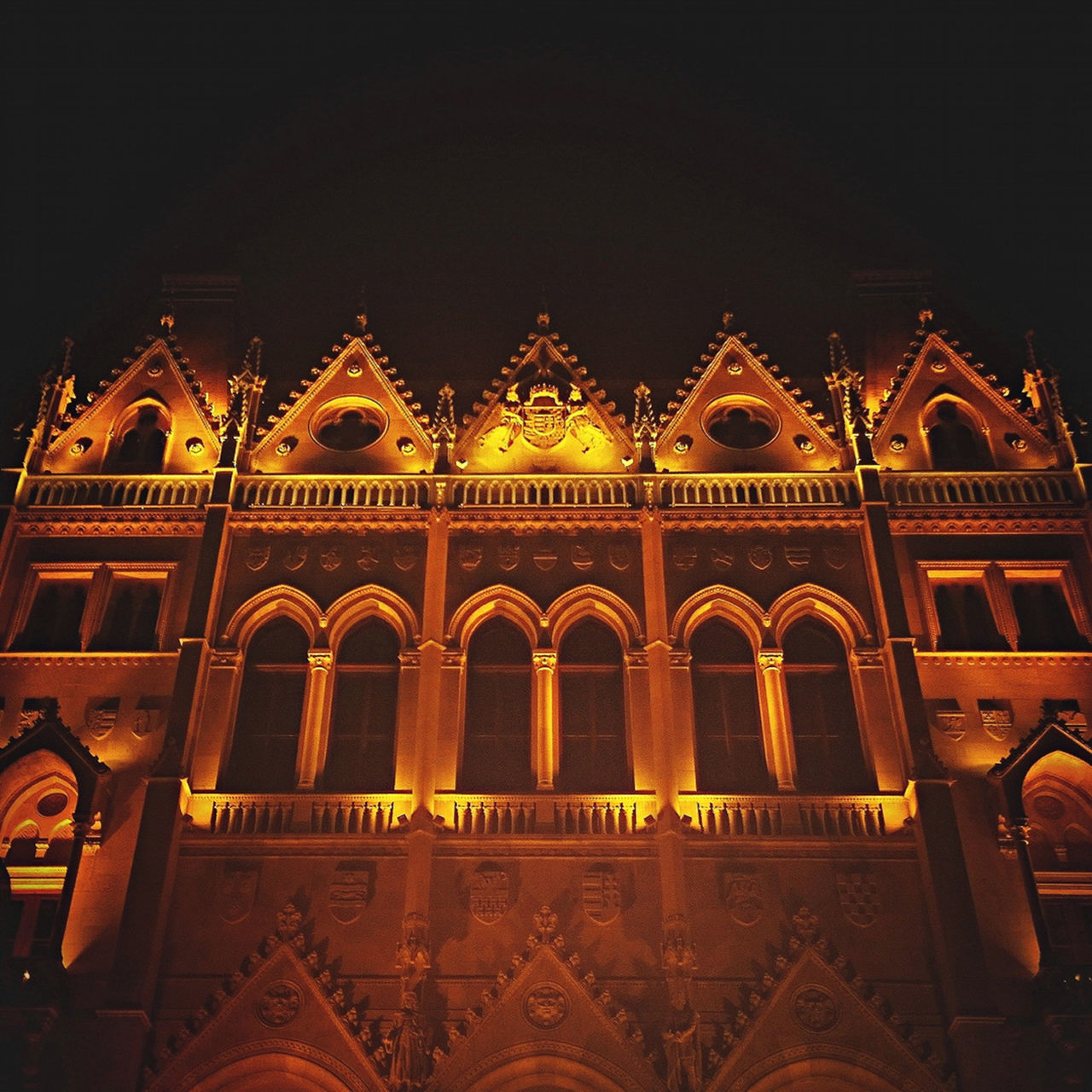 Arch Architecture Budapest Building Exterior Built Structure City Clear Sky History Hungary Low Angle View Night No People Orange Color Orszaghaz Outdoors Parlament Sky Window Yellow Cities At Night