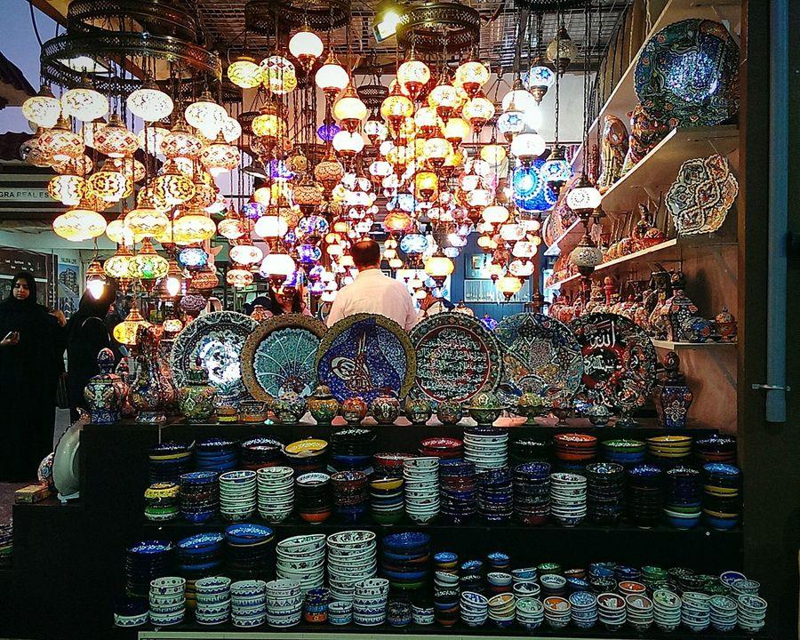 Turkey Global Village Dubai Art Plates Chandeliers Plates Bowls Turkish Designs Colors Joy