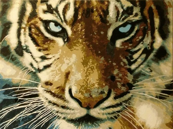 Draw Oil Painting Oil Colour Tiger One Animal Close-up Portrait Looking At Camera Tiger Animal Themes Animals In The Wild