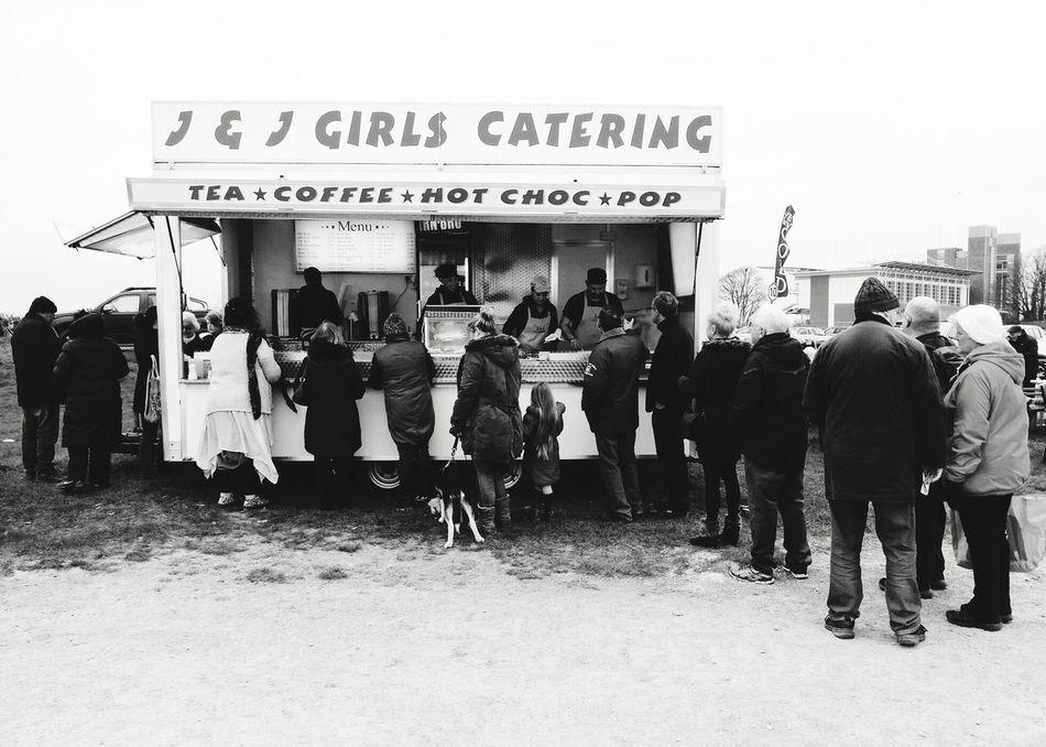 Catering Wagon Burger Van Views Of Britain Car Boot Queuing Blackandwhite