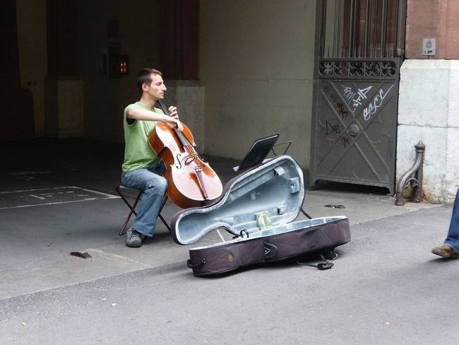 Switzerland 2008 May Street Musicians Playing Cello Cellist People Man
