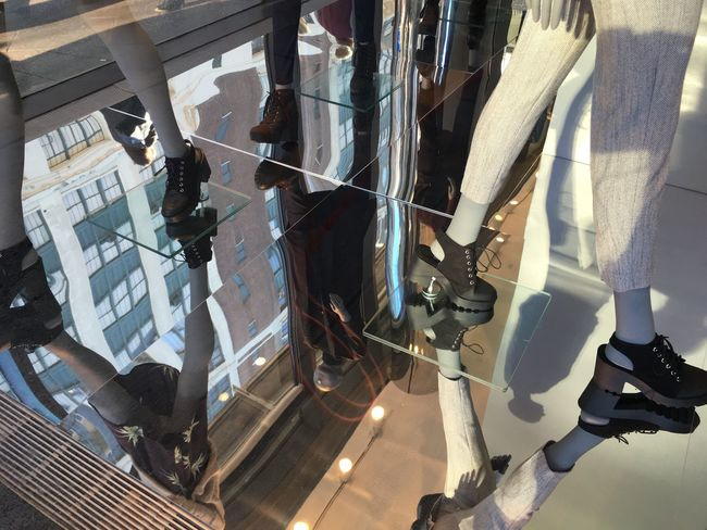 Architecture Built Structure Complexity Full Frame Modern Power Supply Reflection Shoes Window Shopping Manequin