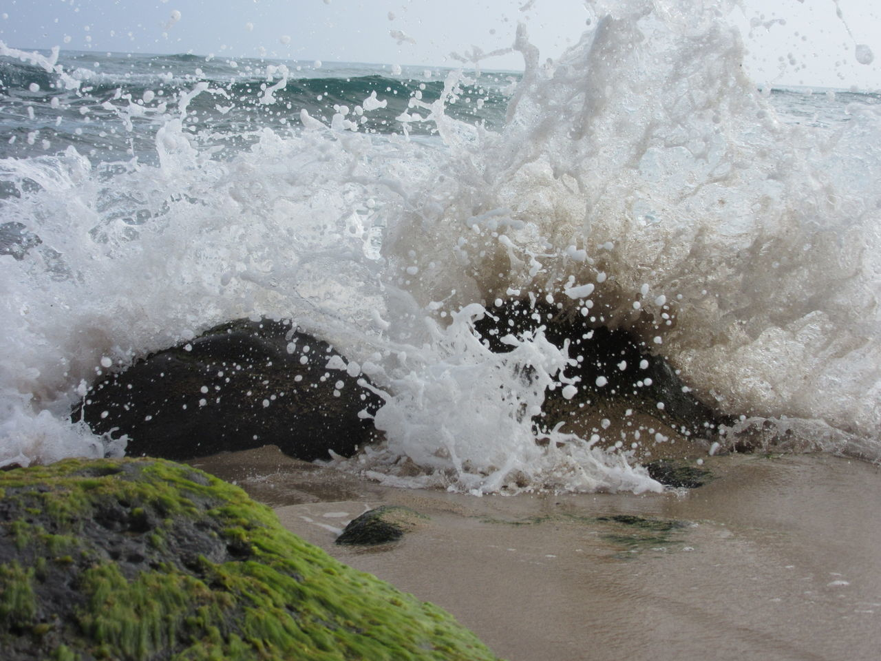 Sand Water Sea Motion Nature Splashing No People Beauty In Nature Wave Outdoors Power In Nature Close-up Low Angle View Low Angle Shot Beach Kauai Hawaii