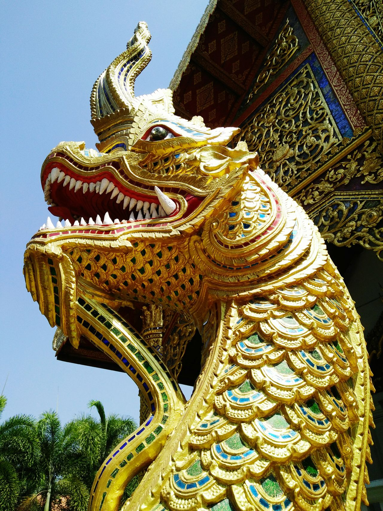 Gold Statue Craft Sculpture No People Architecture Outdoors Day Chinese Dragon Naga Decorative Temple Thailand religion architecture arch Asia style