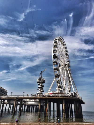 Ferris Wheel Bungee Jumping Pier Cloud - Sky Water Beach People Scheveningenbeach Scheveningen  Sea Noordzee Outdoors Sky WeekOnEyeEm TheWeekOnEyeEM The Week On EyeEm