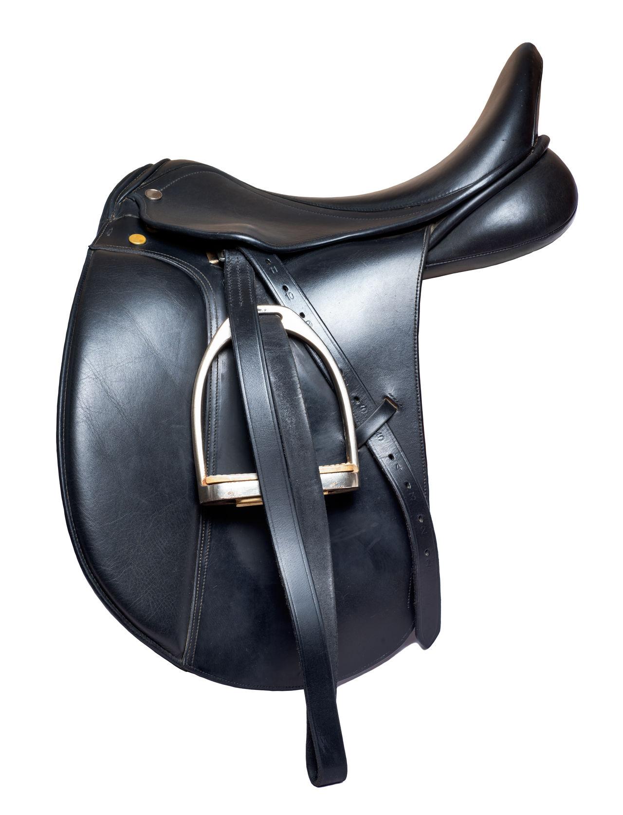 Black Color Close-up Dressage Fashion Horse Lether No People Professional Saddle Seat Stirrup Studio Shot White Background