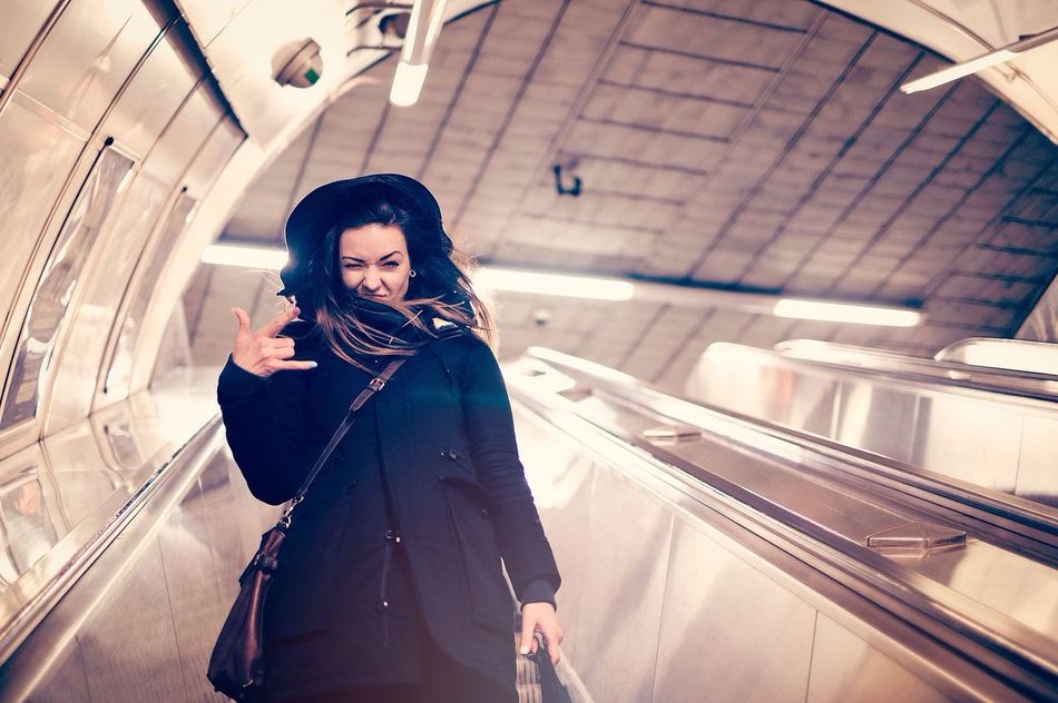 Going Underground People Girl Women Prague SlovakianGirls Escalator Underground Subway Coat Brown Hair Hoodie Cute Beautiful Color Portrait Gstar First Eyeem Photo