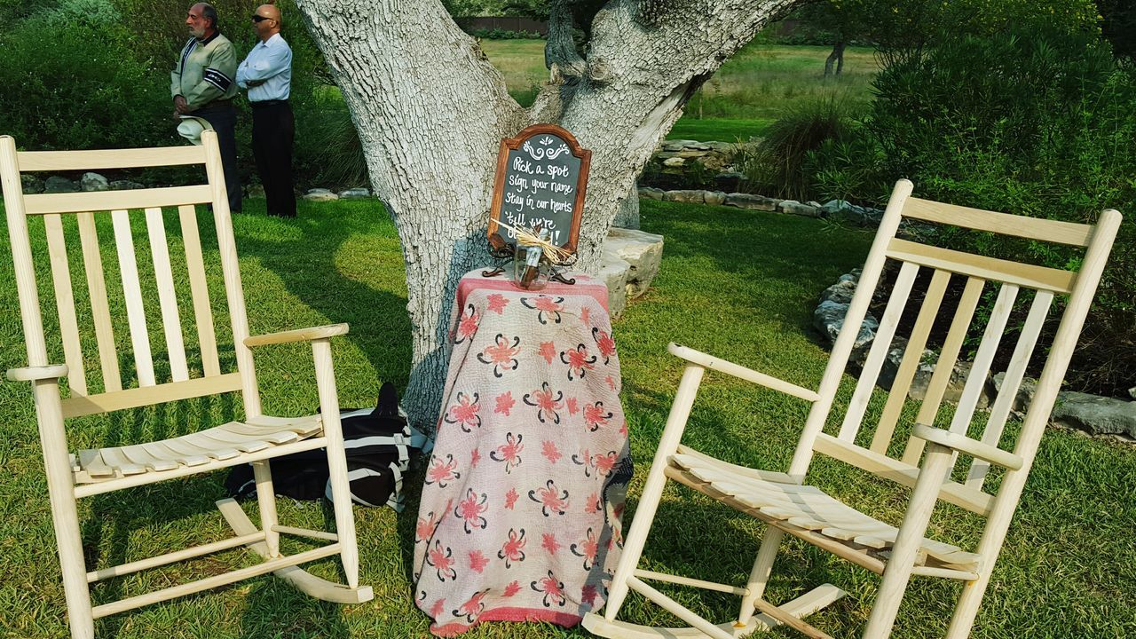 The rocking chairs are the guest book! Wedding Boulder Springs Events Rocking Chairs Guest Book