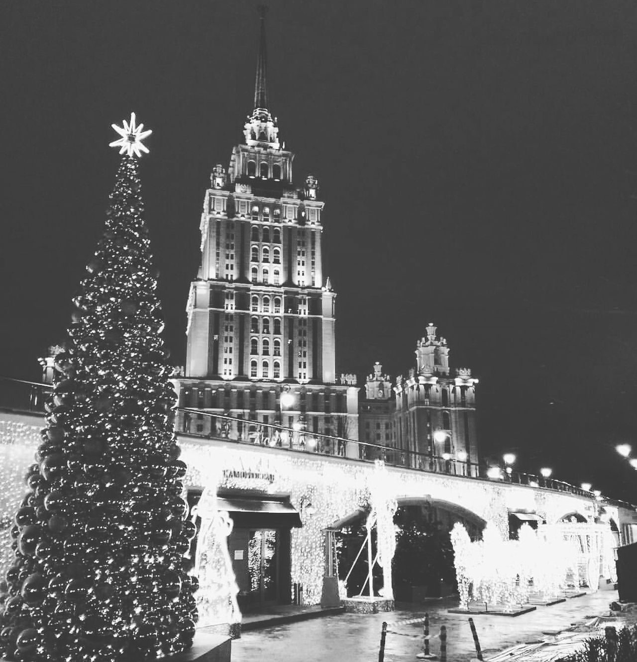 Moscow Christmas Tree Architecture Built Structure Soviet Architecture Christmas Tree Celebration Night Travel Destinations Christmas Decoration Christmas Lights Clock Tower Holiday - Event Winter No People Tree Topper City Illuminated Sky Snow Clock Christmas Market