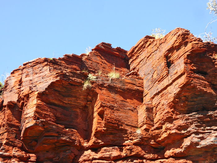 Beauty In Nature Central Australia Clear Sky Cliffs Iron Ore Country Live For The Story Nature No People Red Rocks  Rock Climbing Weekend Rock Face Rock Face Layered Rock Layers The Great Outdoors - 2017 EyeEm Awards Very Blue Sky
